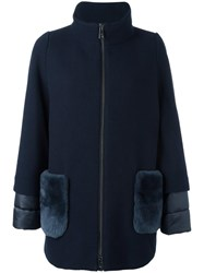 Fay High Neck Zipped Coat Blue