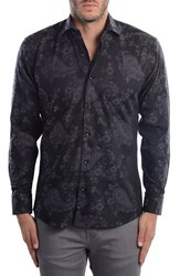 Bertigo Men's Purple Paisley Modern Fit Sport Shirt