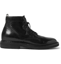 Officine Creative Stanford Distressed Leather Boots Black