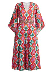 Andrew Gn Geometric Print V Neck Silk Midi Dress Orange Multi