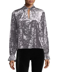 Romeo And Juliet Couture Crushed Velvet Keyhole Blouse Gray
