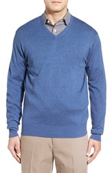 Peter Millar Men's Silk Blend V Neck Sweater Hawaiian Blue