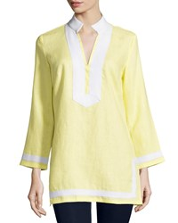 Sail To Sable Classic Linen Long Sleeve Tunic Limelight White