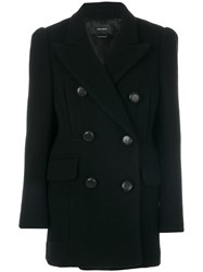 Isabel Marant Lea Double Breasted Coat Cotton Polyester Cupro Virgin Wool Black