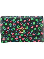 Prada Floral Print Fold Over Wallet Black
