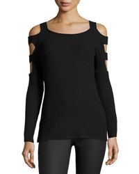 Casual Couture Shoulder Cutout Long Sleeve Sweater Charcoal