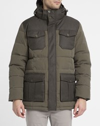 Pyrenex Khaki And Black Sirocco 4 Pocket Removable Hood Dual Fabric Parka