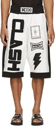 Ktz White Clash Appliqu Shorts