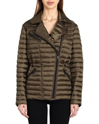Badgley Mischka Mia Quilted Puffer Jacket Olive