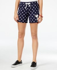 Freeze 24 7 Juniors' Peanuts Snoopy Graphic Active Shorts Navy