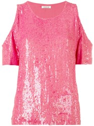 P.A.R.O.S.H. Cold Shoulder Sequin Top Pink Purple