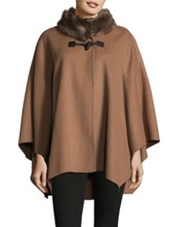 Jones New York Faux Fur Trimmed Wool Blend Cape Vicuna