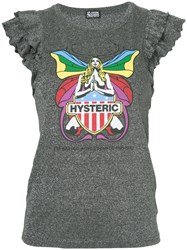 Hysteric Glamour Frill Sleeve Butterfly T Shirt Grey
