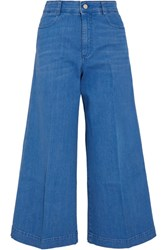 Stella Mccartney Cropped High Rise Flared Jeans Light Blue