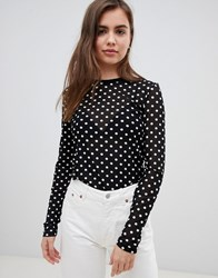 Minimum Moves By Spotty Long Sleeve Top Black With White Multi