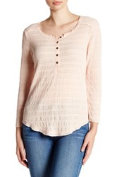 Melrose And Market Long Sleeve Lace Henley Tee Pink Wood