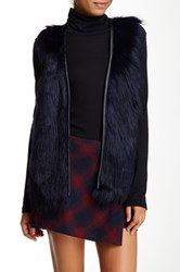 Love On A Hanger Pleather Trim Faux Fur Vest Blue