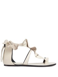 Isabel Marant Audry Ruffle Trimmed Flat Leather Sandals Cream