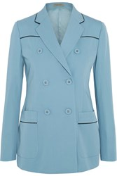 Bottega Veneta Double Breasted Faux Leather Trimmed Wool Gabardine Blazer Sky Blue