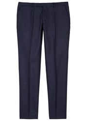 Oscar Jacobson Damien Dark Blue Slim Leg Wool Trousers Navy