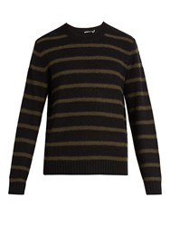 Vince Striped Wool Blend Sweater Green Multi