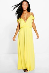 Boohoo Cold Shoulder Rouched Maxi Dress Lemon