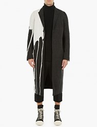 Rick Owens Black Denim Bleach Stain Coat
