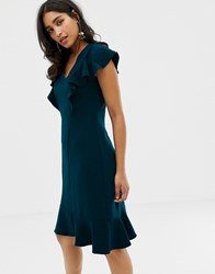 Closet Frill Hem And Shoulder Dress Green
