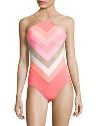 Vince Camuto Cameilla Striped High Neck One Piece Swimsuit Pop Coral