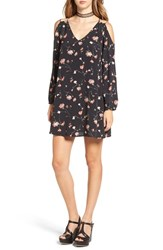 Cream And Sugar Women's Floral Print Cold Shoulder Shift Dress