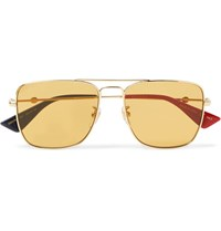 Gucci Aviator Style Gold Tone Sunglasses Gold