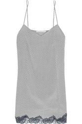 Stella Mccartney Ellie Leaping Printed Stretch Silk Crepe De Chine Chemise Gray