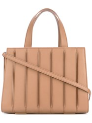 Max Mara Ribbed Effect Tote Calf Leather Cotton Brown