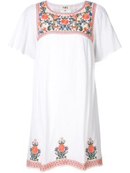 Ymc Floral Embroidery Peasant Dress White