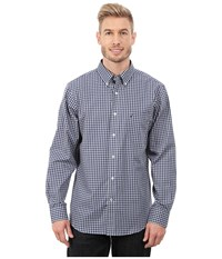 Nautica Long Seeve Wrinkle Yard Small Plaid Night Sky Men's Long Sleeve Button Up Blue