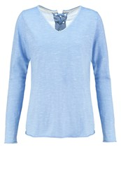 Cream Laura Long Sleeved Top Clear Blue Light Blue