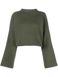 J.W.Anderson Jw Anderson Loose Cropped Knit Sweater Green