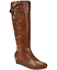 Style And Co Rainne Wedge Tall Boots Created For Macy's Women's Shoes Cognac