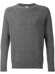 Deveaux Ribbed Crew Neck Jumper Grey