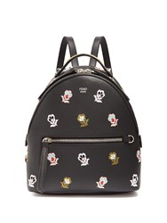 Fendi Floral Embroidered Mini Leather Backpack Black Multi