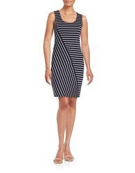 Guess Striped Sheath Dress Navy White