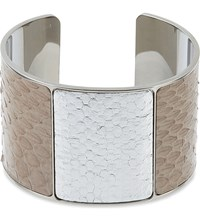 Aspinal Of London Minerva Snakeskin Metal Cuff Nude