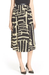 Hunter Bell 'Rena' Print Silk Skirt Olive Graffiti