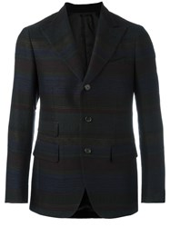 Gabriele Pasini Peaked Lapel Striped Blazer Black