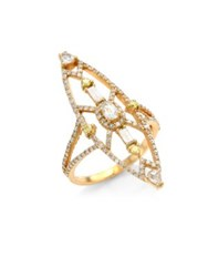 Bavna 18K Rose Gold And Diamond Cocktail Ring Yellow Gold