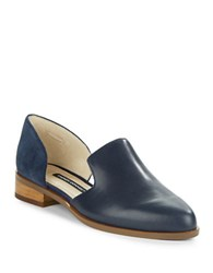 French Connection Lottie Leather And Suede D Orsay Loafers Navy Blue