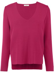 Egrey Panelled Knit Blouse Pink And Purple