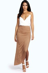 Boohoo Ruched Side Jersey Maxi Skirt Camel