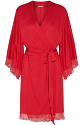 Eberjey Cassandra Lace Trimmed Stretch Jersey Robe Red