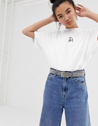 Lazy Oaf Oversized T Shirt With I Prefer Dogs Embroidery White